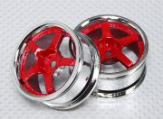 1:10 Scale Wheel Set (2pcs) Chrome/Red 5-Spoke RC Car 26mm (No Offset)