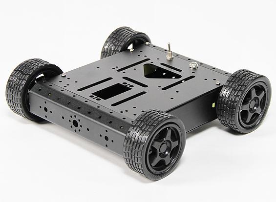 Aluminum 4wd Robot Chassis Black Kit In Hobbyking