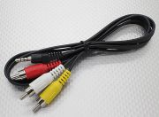 3.5mm to Male Stereo RCA A/V Plugs Adaptor Lead (1000mm)