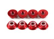 Aluminum Flange Low Profile Nyloc Nut M5 Red (CW) 8pcs (AR Warehouse)