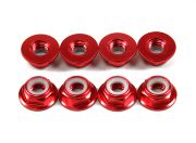 Aluminum Flange Low Profile Nyloc Nut M5 Red (CCW) 8pcs (US Warehouse)